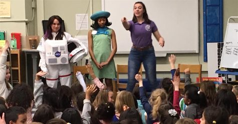 "Three actresses from ""American Girl Live"" -- Ashley Diane as Luciana (left), Laila Drew as Melody (center), and Monica Poston as Alyssa -- answer questions from students at Hosmer Elementary School in Watertown, Mass., on Jan. 9, 2019."
