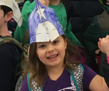 Hosmer second-graders in Leah Hinds and Sarah Thiemann's class made and colored Patriots and Rams hats on Friday.