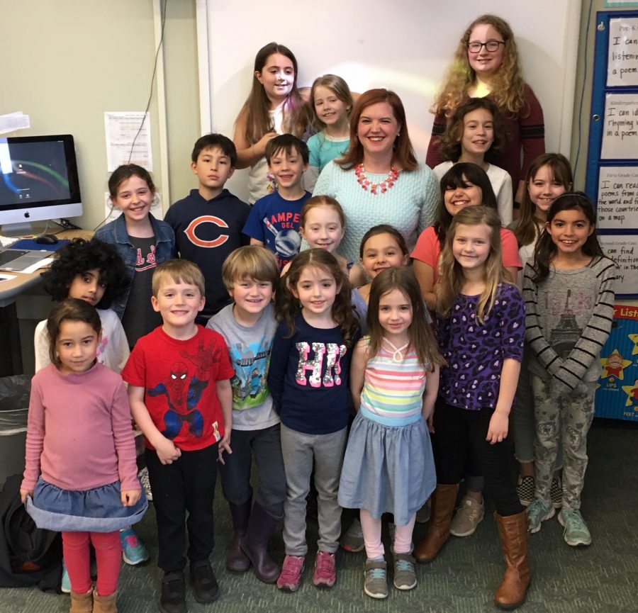 Erin+Moulton%2C+the+next+principal+at+Hosmer+Elementary+School+in+Watertown%2C+poses+with+Husky+Howl+reporters+after+an+interview+in+the+newsroom+Tuesday%2C+April+9%2C+2019.